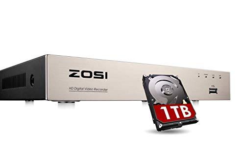 ZOSI 4 Canales 1080P H.265+ Video Grabador de Vigilancia DVR, Salida HDMI/VGA, Receptor para Kit de Cámara de Seguridad, 1TB Disco Duro