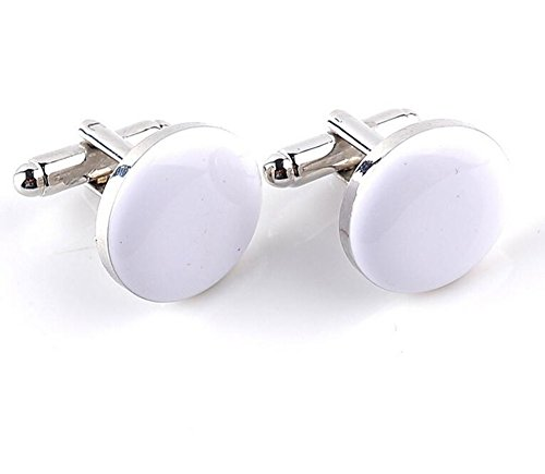 Ynnxia Fashion Französisch Hülse Einfache Runde Manschettenknöpfe Business Herrenhemd Zubehör 1 Para Weiß