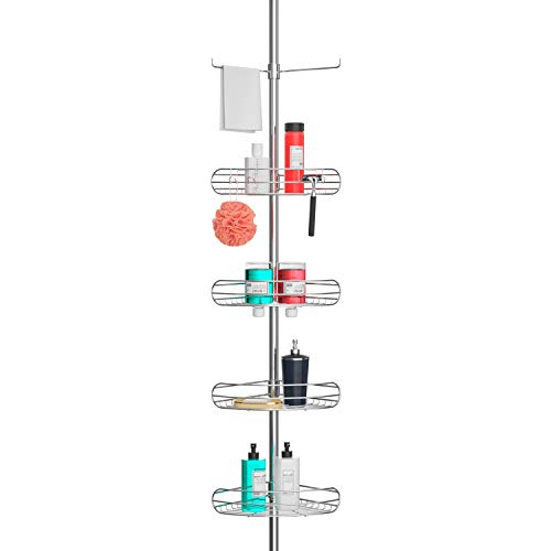 ALLZONE Tension Shower Standing Caddy Corner, Rustproof 304 Stainless Steel, 4 Tier Baskets, 1 Towel Bar, 56-114 Inches