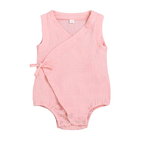 YOUNGER TREE Newborn Infant Baby Girl Romper Linen Bodysuit Sleeveless Open Jumpsuit Clothes Outfits (0-6 Months, Pink)