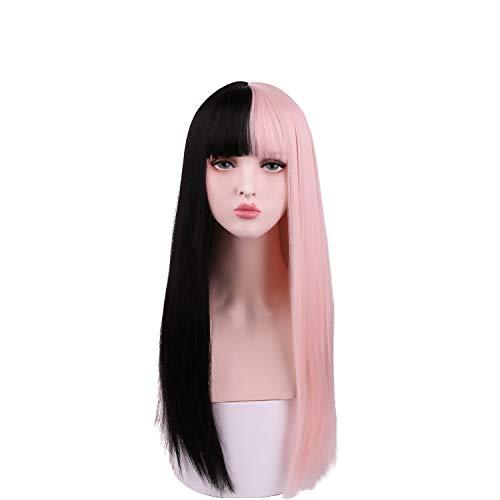 SinRain Half Black Half Pink Long Straight Fashion Halloween Party Wig For Women Girls (Black/Pink -Long)