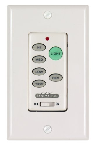 Fanimation C21 Wall Control Fan and Light 3-Speed/Reversing, White, 2.00x4.50x2.75, See Image