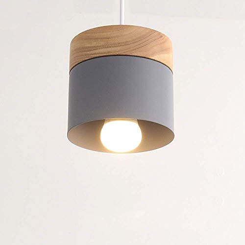 WYZXR - Candelabro LED de hierro forjado redondo de madera maciza, para lámpara de pasillo colgante decorativa, moderno y minimalista para comedor, colgante decorativo (color blanco)