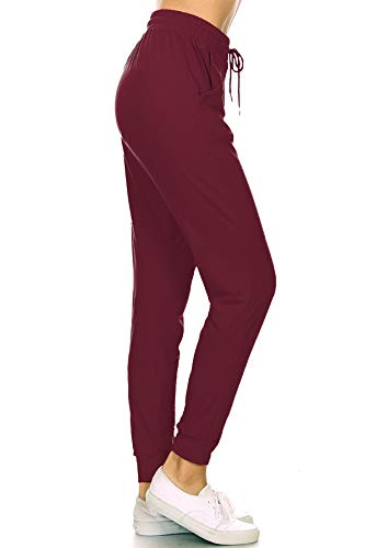 Leggings Depot JGA128-BURGUNDY-XL Solid Jogger Track Pants w/Pockets, X-Large
