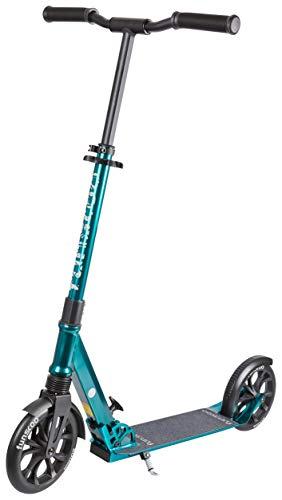 Funscoo + 200mm Petrol City Scooter, Kickscooter mit Federung, Aluminiumscooter Daher sehr leicht, höhenverstellbar und klappbar