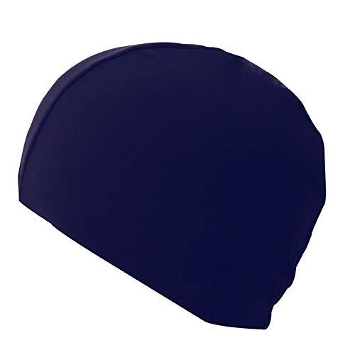 ZKDY Long Cheveux Mâles Et Femelles Adultes De Piscine Couleur Pure Natation Pac Bonnet Élastique,Bleu Foncé
