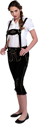 Almwerk Damen Trachten Lederhose Kniebund Modell Hanna, Farbe:Schwarz, Größe:40