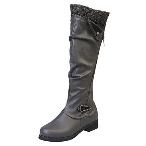 Frauen Kniehohe Stiefel Winter Leder Reißverschluss Quadrat Ferse Hohe Schneeschuhe Warme Schuhe Runde Kappe Retro Stiefel(Grau,40 EU)