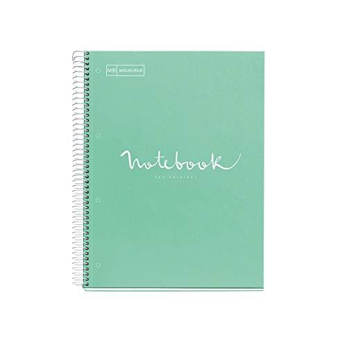 Miquelrius - Cuaderno A5 Puntos Notebook, 1 Franja de Color, 80 Hojas con Rayado Punteado (Dots), Papel 90 g Microperforado con 2 Taladros para 2 Anillas, Cubierta de Cartón Duro, color Menta