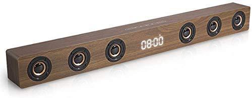 GaoF Altavoz, Barra de Sonido para TV Conexión HDMI Rango Completo 6 Altavoces Soporte Pantalla de Reloj de 30 W Altavoz estéreo de Madera con RCA AUX HDMI para TV Cine en casa
