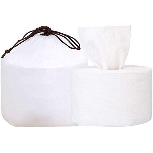 Yuyanshop Toalla de limpieza desechable – Tejido facial estéril con patrón de perlas – algodón multiusos para lavar la cara (blanco)