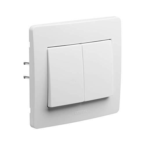 Zweiwege-Schalter - Einbau-Schalter - Wandschalter - Wandsteckdosen-Schalter - Unterputz-Ausrüstung - Diam2 Double Zwei-Wege-Weiß-Bereich