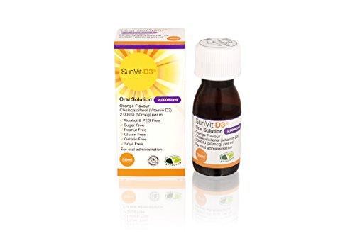 SunVit-D3 2000iu Vitamin D3 Oral Solution for Children - Vegetarian & Halal Approved - (UK Manufactured) - 50ml