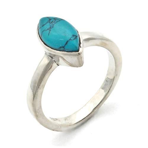 Türkis Ring 925 Silber Sterlingsilber Damenring grün blau (MRI 138-15), Ringgröße:60 mm/Ø 19.1 mm