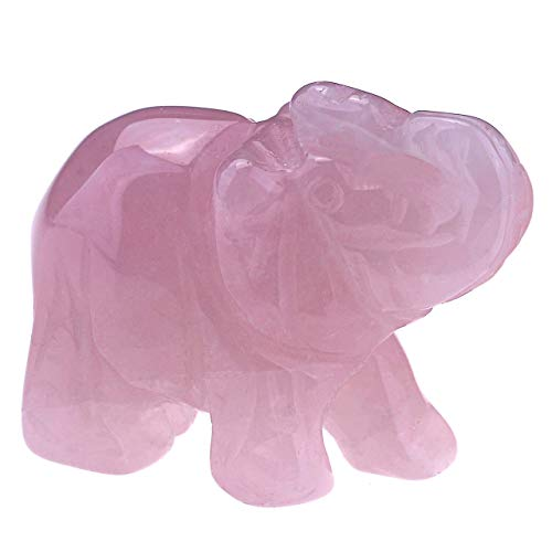 JSDDE Rose Quartz Crystal Elephant Reiki Healing Gemstone Elephant Figurine Statue Ornament Decoration 1.5'