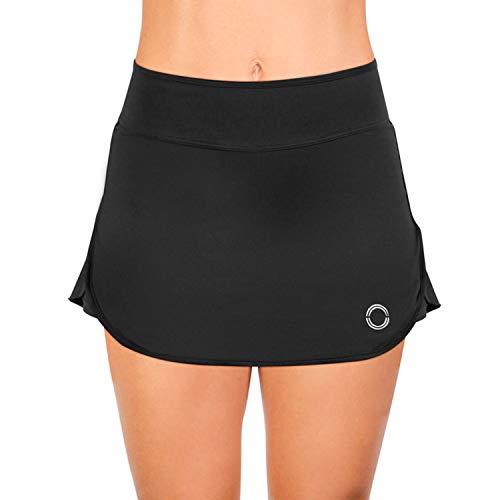 NEON STYLE - Falda Pantalón Deportiva | Falda de pádel y Tenis elástica para Mujer | Skort para Fitness de Lycra | Skirt Basic, Talla M | Color Negro