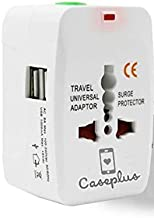 Case Plus Latest Universal Adapter Worldwide Travel Adapter with Built in Dual USB Charger Ports (1 Year warrenty) (Universal Travel Adapter-1 Pack) (Universal Travel Adapter with USB(1 Pack))