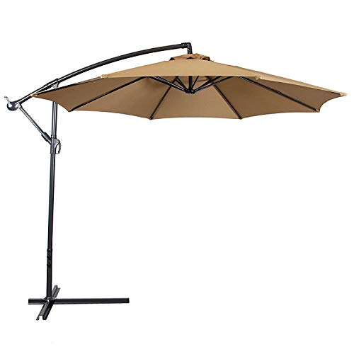 Best Choice Products 10ft Offset Hanging Aluminum Polyester Market Patio Umbrella w/ 8 Ribs and Easy Tilt Adjustment, Beige