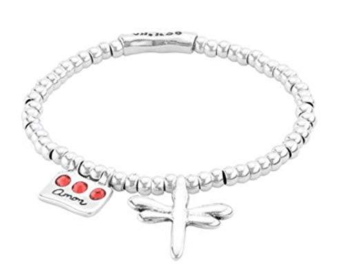 Pulsera Uno de 50 Love-me PUL2045ROJMTL0M - pulsera de metal bañado en plata con pequeña libélula colgada
