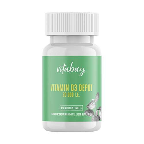 Vitabay Vitamin D3 Depot 20.000 I.E • 120 vegane Tabletten • Hochdosiert • Made in Germany