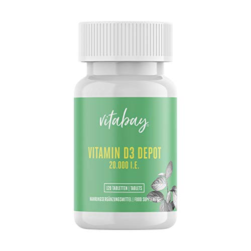 Vitamin D3 Depot 20.000 I.E. - 120 vegane Tabletten - Nur eine vegane Tablette / 20 Tage - hochdosiert - made in Germany