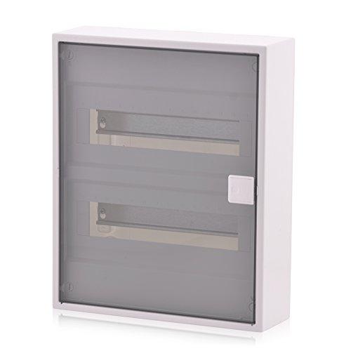 Sicherungskasten 2 reihig für 24 Module Aufputz mit DIN Schiene transparente Tür IP40 für die Trockenraum Installation im Haus
