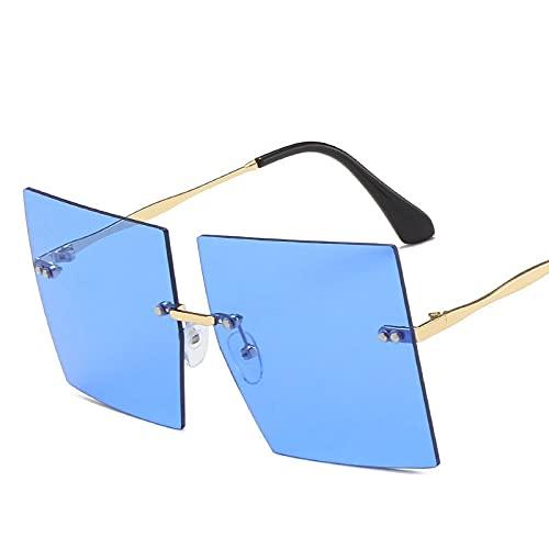 AMFG Marco Cuadrado Gafas De Sol Gafas De Sol Sin Llanta De Montura Hombres Y Mujeres Personalidad Metal Gafas De Sol (Color : D)