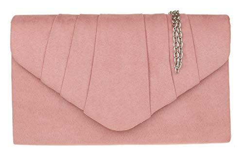 Girly Handbags - Cartera mano ante mujer Rosa Colorete