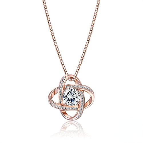 Yandm Sterling Silver Shining Large Zircon Geometric Ball Surround Pendant Chokers Necklaces for Women Rose Gold