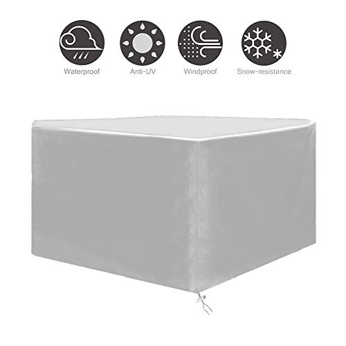 NINGWXQ Outdoor Furniture Cover Waterdicht Dust-proof Anti-UV Koord Ontwerp Oxford Doek Rotan Set, verschillende maten, 2 kleuren (Color : Silver, Size : 123×123×74cm)