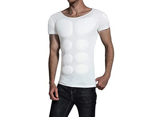 QQA Uomo Finto Muscolo Addominale T-Shirt in Cotone Basso Colletto Morbido Elasticità Regalo Adatto Partito,XS