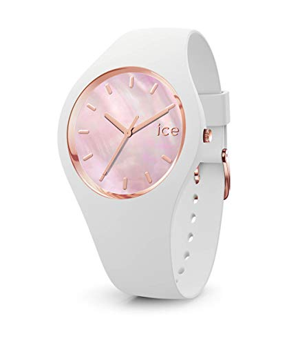 Ice-Watch - ICE pearl White pink - Weiße Damenuhr mit Silikonarmband - 017126 (Medium)
