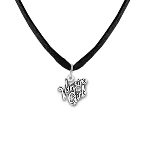 Naswi Jewelry Pendant Necklace Engrave Alphabet Vampire Girl DIY Message Charm with Rope/Link Chain Zinc Alloy Necklace Gifts
