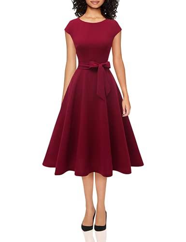DRESSTELLS Midi 1950er Vintage Retro Rockabilly Kleid Damen elegant Hochzeit Cocktailkleid Burgundy L