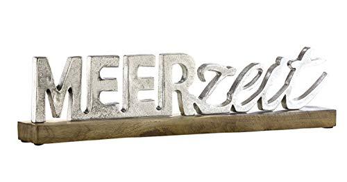 G.H. Grosser maritimer Alu- Holzschriftzug als Aufsteller, Modell: MEERZEIT, Material Alu und Holz, Maße 48 x 11 cm, Farbe Silber, ideal für Garten, Terrasse, Cafe, Cafeteria