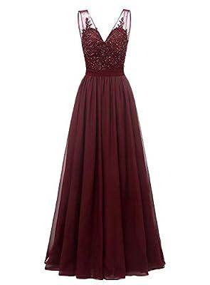 Changuan V-Neck Chiffon Bridesmaid Dress Long Formal Gown Party Evening Dress Sleeveless Size 4 Dark Burgundy