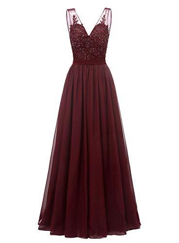 Changuan V-Neck Chiffon Bridesmaid Dress Long Formal Gown Party Evening Dress Sleeveless Size 10 Dark Burgundy (Apparel)