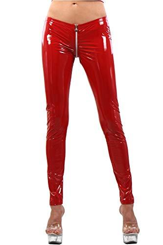 Miss Noir Wetlook Damen Sexy Vinyl Leggings S-3XL mit Niedriger Taille und 4-Wege-Reißverschluss Glanz Lack-Lederlook Clubwear Party Hose (Rot, 3XL)