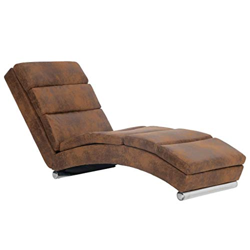 vidaXL Chaiselongue Relaxliege Liegesessel Sessel Lounge Liegestuhl Relaxsessel Loungesessel Sesselliege Komfortliege Polsterliege Braun Wildleder-Optik