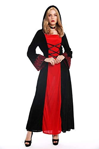 dressmeup - W-0032 Disfraz Mujer Feminino Halloween Elfo sílfide Hada Maga Edad Media Vestido Largo con Capucha Negro Rojo Talla M
