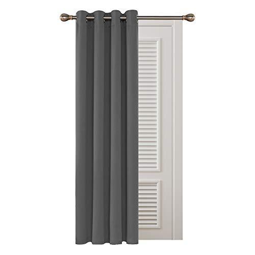 Deconovo Cortinas Opacas Salon Habitación Aislantes Térmicas para Dormitorio 1 Pieza con Ojales 132 x 160 cm Gris Claro