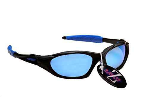 Rayzor Professionnel léger UV400 Noir Sport Wrap Course Lunettes de Soleil, avec Blue Iridium Miroir Anti-éblouissement Lens.