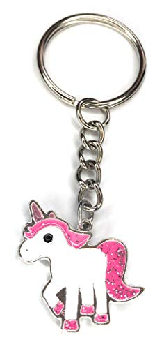 FizzyButton Gifts Enamel Pink Glitter Unicorn Charm Keyring Key Ring with Silver Tone Keychain