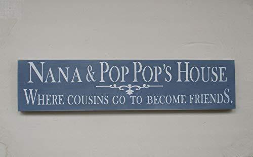 Ced454sy klaar om Nana Gift Nana en Pop Pops huis waar neven gaan naar vrienden Wood Sign Denim blauw en wit