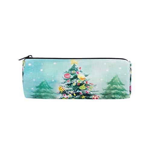 Bonipe Aquarell Weihnachtsbaum Geschenk Glocke Sterne Bunt Federmäppchen Tasche Tasche Schule Schreibwaren Stiftebox Reißverschluss Kosmetik Make-up Tasche