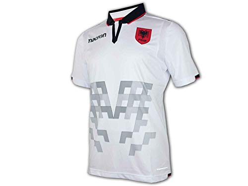 Macron Albanien Away Shirt M18 FSHF Albania Auswärts Trikot weiß EM WM Fanartikel, Größe:L
