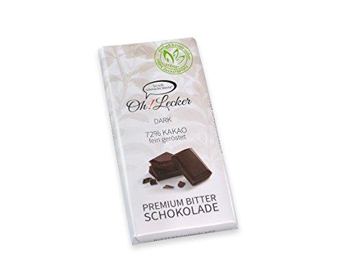 Oh! Lecker 4 x 80 g Zartbitter Stevia Schokolade Zuckerfrei & Kalorienfrei gesüßt ohne Zucker Zusatz| low-carb| Vegan| Ballaststoffreich| Kohlenhydratarm| paleo| keto| Bean-to-Bar