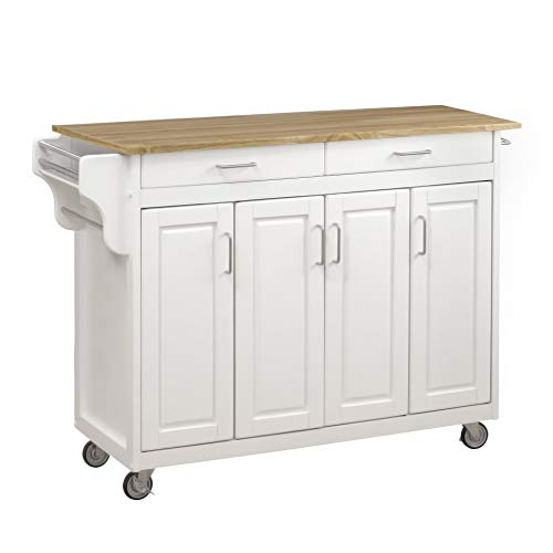 Home Styles Create-a-Cart White Four Door Cabinet Kitchen Cart with Wood Top,...