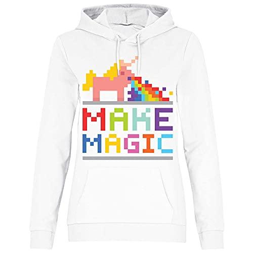 wowshirt Sudadera con Capucha Make Magic Unicorn Puking del Unicornio del Arco Iris para Mujer, Tamaño:XS, Color:White