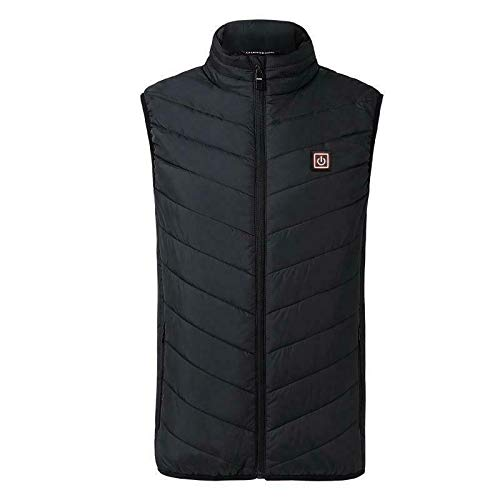 Electric Vest Heating Cloth Jacket USB Warm-up Heating Pad to Keep The Body Warm in Winter, for Outdoor Body Warmers (Black, L)